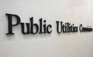 lettering on wall that reads Public Utilities Commission