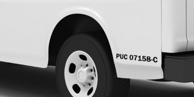Transportation Industries - back of van with PUC number